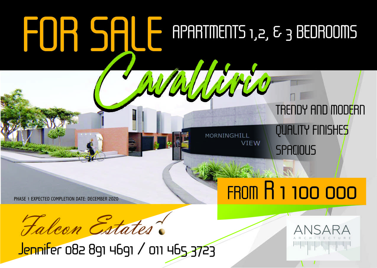 1,2 and 3 Bedroom apartments , ranging from R 1 272 000  to  R 2 400 000 (inclusive of vat) No transfer duty payable. Ground floor and First floor units with lock up garages,balconies and own gardens.